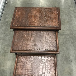 Boho Chic Faux Crocodile Pattern Nesting Tables - Set of 3 Preview