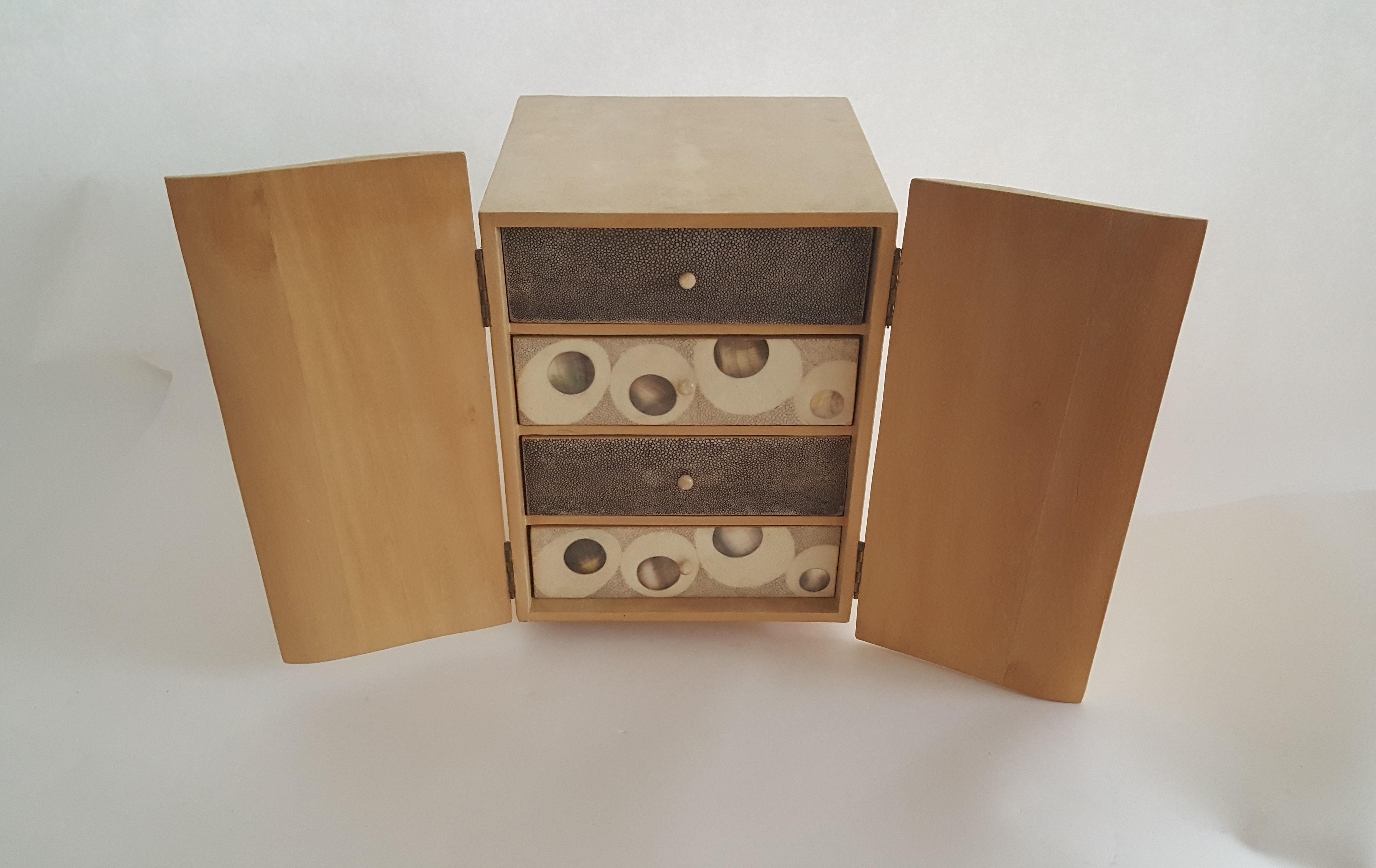 R Y Augousti Wood Shagreen Jewelry Box Chairish