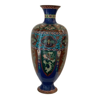 Vintage Cloisonné Tall Vase For Sale