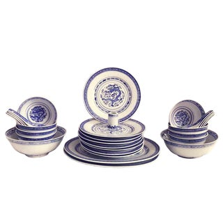 Chinoiserie Blue & White Dragon Patten Dinnerware - 29 Piece Set For Sale