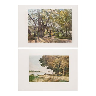 "Rare 1959 ""View of Paris"" and ""On the Shore"" Photogravures by H. J. Harpignies - a Pair For Sale"