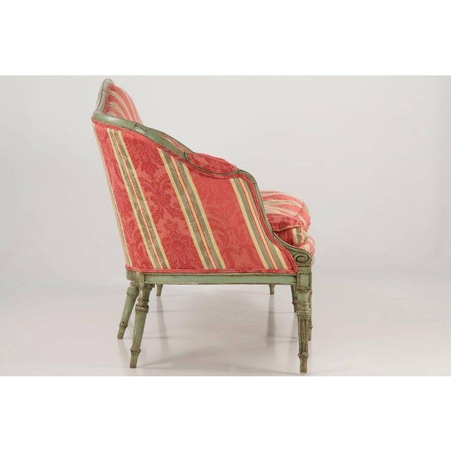 French Louis XVI Period Antique Green Painted Sofa Canapé Settee, 18th Century For Sale - Image 4 of 10