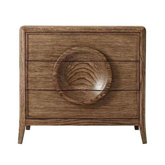 A Mid Century modern style solid Oak and quarter Oak veneered 3 - drawer night stand. With dish form decorative drawer...