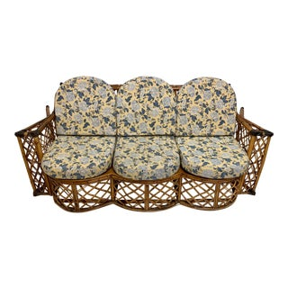1960s French Bent Bamboo / Rattan Sofa For Sale