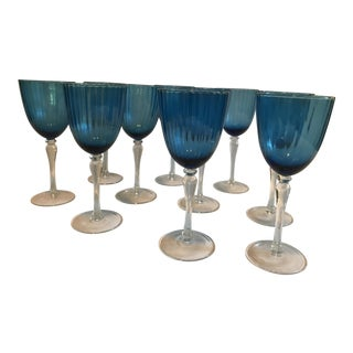 Tall Azure Blue Crystal Wine Glasses - Set of 10 For Sale