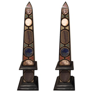 Late 20th Century Vintage Marble Specimen Obelisks After Mongiardino - A Pair For Sale
