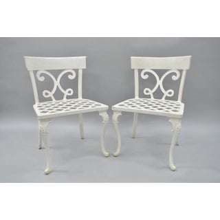 Neoclassical Regency Style Cast Aluminum Patio Chairs - Set of 4 Preview