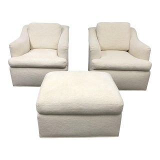 Custom Hilde Brande Swivel Armchairs & Ottoman - Set of 3