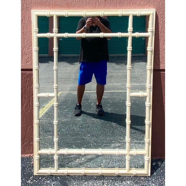Vintage Coastal Double Bamboo Mirror For Sale - Image 9 of 9