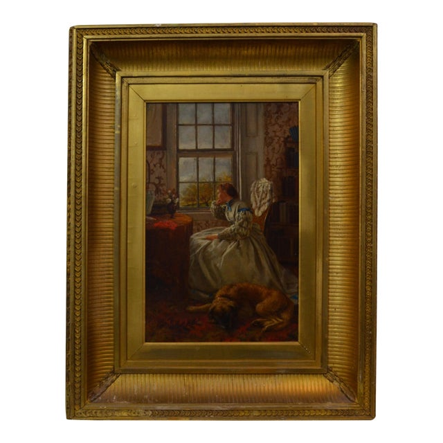 Mid 19th Century Antique E. Benson. 1864. Woman at a Window Oil Painting For Sale