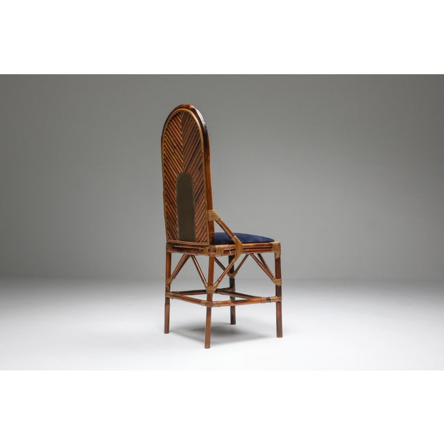 1970s Vivai Del Sud Dining Chairs in Bamboo, Brass & Blue Velvet - Set of 8 For Sale - Image 6 of 13
