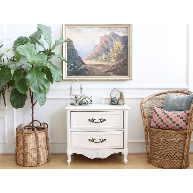 Cottage Shabby Chic Vintage White Nightstand For Sale - Image 3 of 6