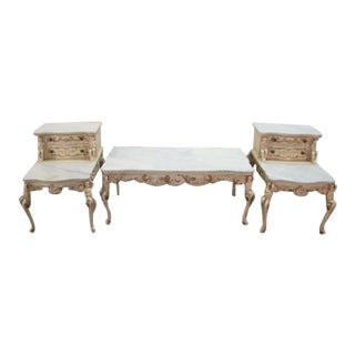 French Three Piece Marble Top Coffee and End Table Set For Sale