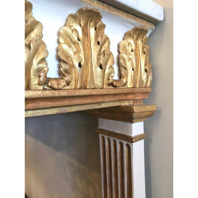 Italian Empire White Painted and Parcel Gilt Console Table Circa 1825 For Sale - Image 4 of 11