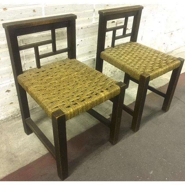 1920s Francis Jourdain Modernist Bauhaus Style Pair of Oak and Rope Chairs For Sale - Image 5 of 5