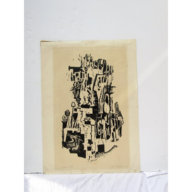 1950 Vintage Black and White Abstract Lithograph Print For Sale - Image 4 of 4