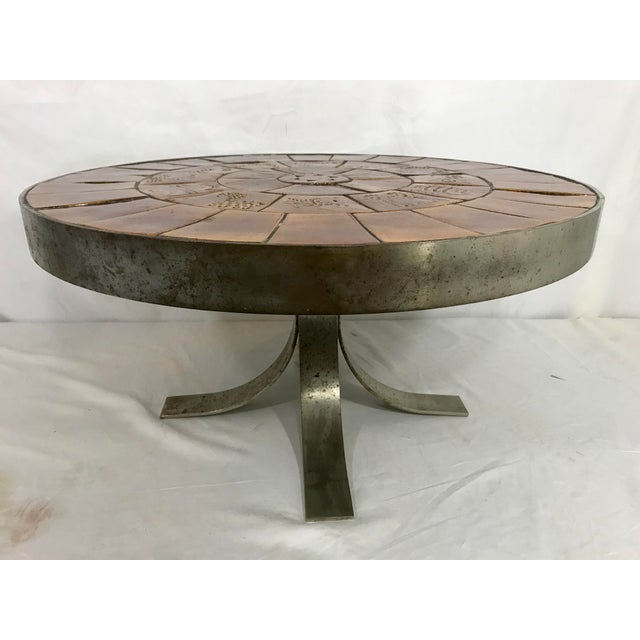 Mid-Century Modern Mid Century French Steel and Ceramic Coffee Table For Sale - Image 3 of 7