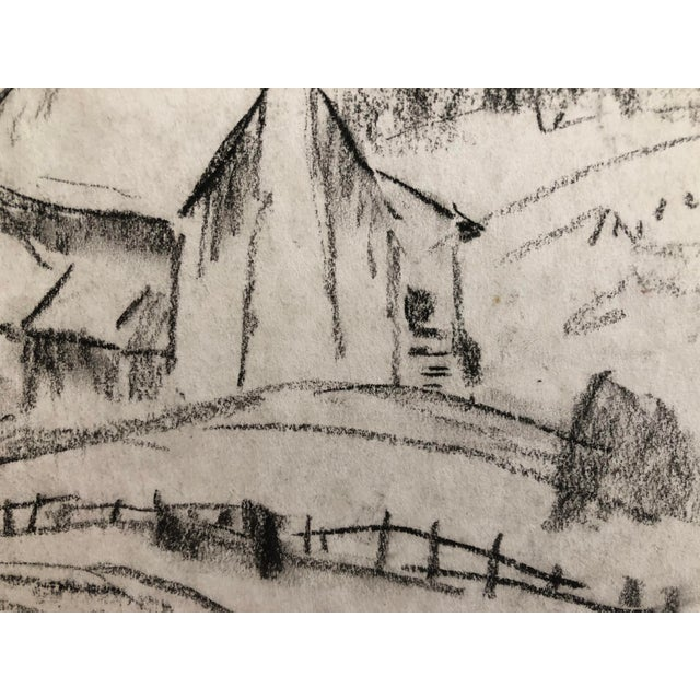 """1930s Vintage Eliot Clark """"Blue Ridge Farm"""" American Impressionist Inspired Drawing For Sale - Image 4 of 7"""
