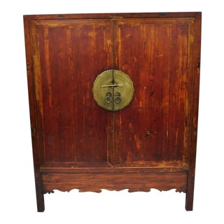 Antique Asian Red Lacquer Oriental Chinese Wedding Cabinet For Sale
