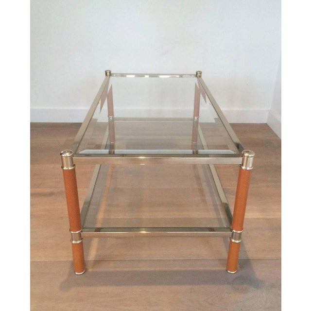 Gilt Brass and Leather Coffee Table by Lancel For Sale - Image 9 of 11