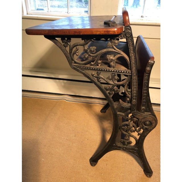 1880 Victorian Schoolhouse Desk W/Cast Iron Base Inkwell & Bookshelf For Sale - Image 9 of 11