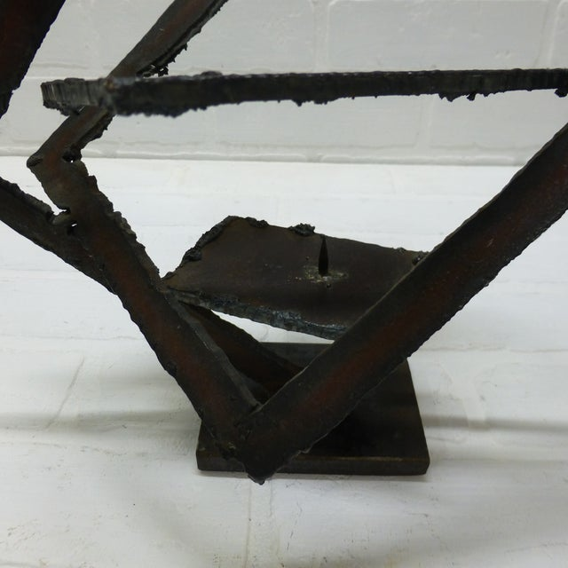 Mid-Century Hand Forged Brutalist Sculptural Candle Holder For Sale In Seattle - Image 6 of 11