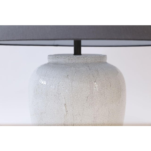 Ceramic Two Custom Lamps in Crackle Glaze For Sale - Image 7 of 8