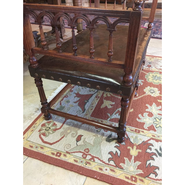 Antique Henry II Walnut & Tooled Leather Bench - Image 3 of 6