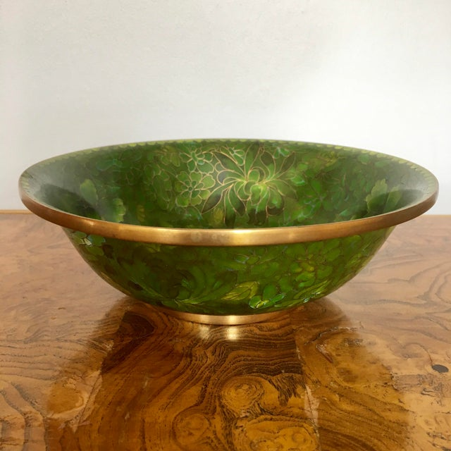 Metal Green Cloisonne Catchall Bowl For Sale - Image 7 of 7