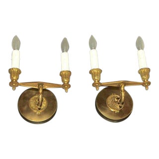 19th Century French Regency Bronze Wall Sconces - a Pair