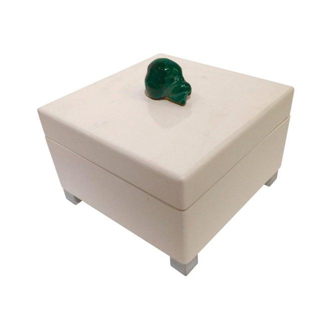 White Lacquered & Malachite Stone Box - Image 1 of 4