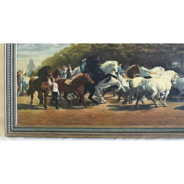 Circa 1928 Marché Aux Chevaux/Bonhuer by G. Robie Oil Painting For Sale - Image 10 of 12