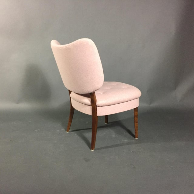 "1940s Swedish ""Emma"" Chair in Pink Felted Wool For Sale - Image 4 of 9"