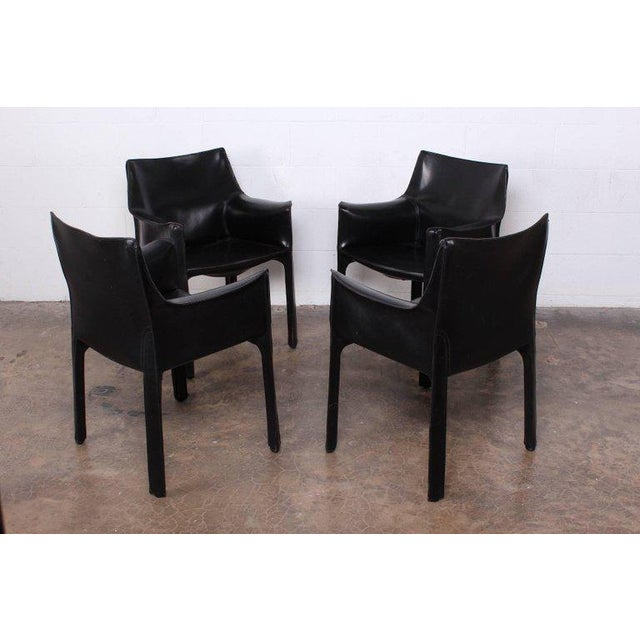 Mid-Century Modern Set of Four Cab Armchairs by Mario Bellini for Cassina For Sale - Image 3 of 11