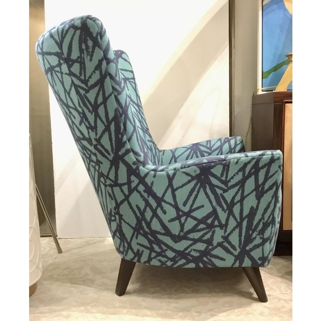 Modern Drexel Heritage Blue Collar Club Chair For Sale - Image 3 of 5