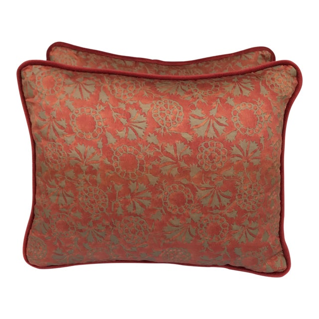 Transitional Rust & Metallic Gold Fortuny Pillows - A Pair - Image 1 of 5