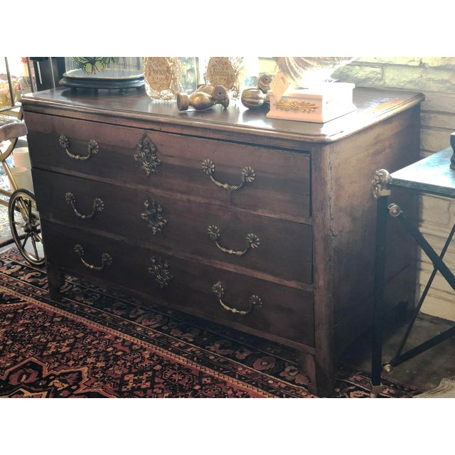 French 18th Century Serpentine Commode Wood Frame With Inlaid Wood Pieces In Top Rustic Brown Finish Three Drawers With...