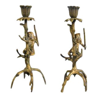 Late 19th Century Bronze Dore Candlesticks - a Pair For Sale