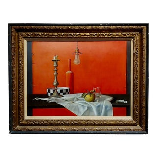 Proferio Grossi -Natura Morta 1965-Surrealist Still Life-Oil Painting For Sale