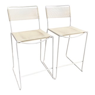 Vintage Mid-Century Italian Beloti Spaghetti Strap Bar Stools- A Pair For Sale