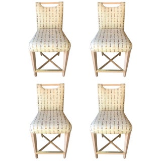 Set of Four Sophisticated Wood and Upholstered Counter Chairs For Sale