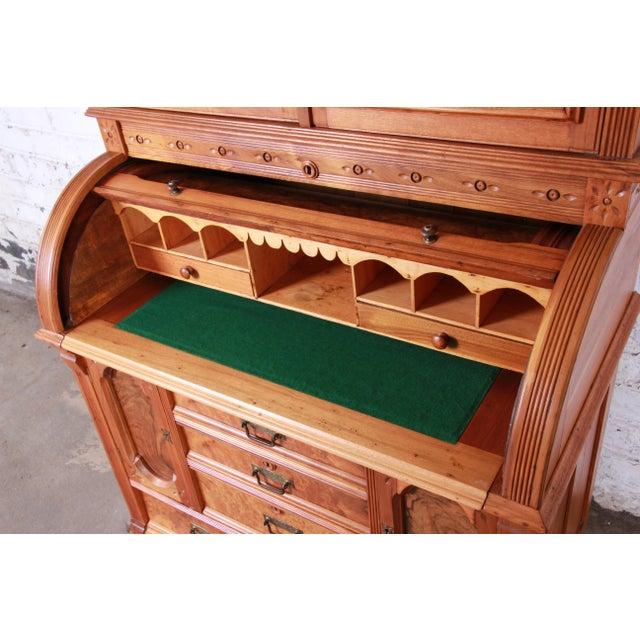 Mid 19th Century 19th Century Eastlake Victorian Carved Walnut and Burl Wood Cylinder Desk With Glass Front Bookcase For Sale - Image 5 of 13