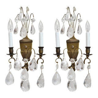 Bohemian Rock Crystal and Bronze Wall Sconces - a Pair For Sale