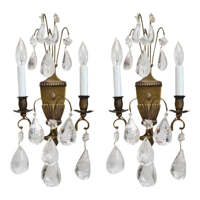 Bohemian Rock Crystal and Bronze Wall Sconces, A Pair For Sale