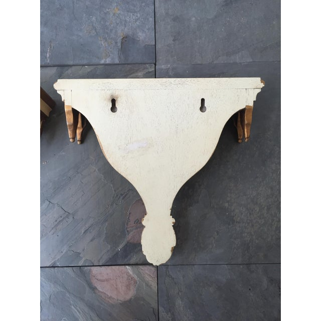 Gothic Style Decorative Cream and Gilt Painted Brackets - A Pair - Image 3 of 3