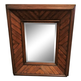Solid Wood Beveled Glass Mirror With Harringbone Wood Pattern For Sale