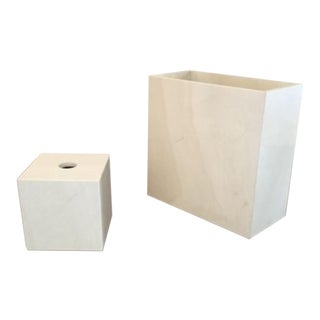 Maitland Smith Tessellated Marble Stone Tissue Box & Waste Basket - A Pair For Sale