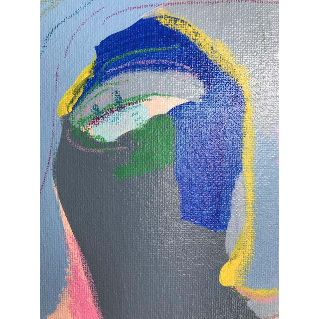 "Contemporary Abstract Portrait Painting ""Is He Ready to Go, No. 2"" - Framed For Sale In Detroit - Image 6 of 12"