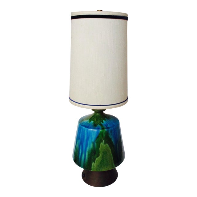 Mid-Century Modern Turquoise Ceramic Table Lamp - Image 1 of 11