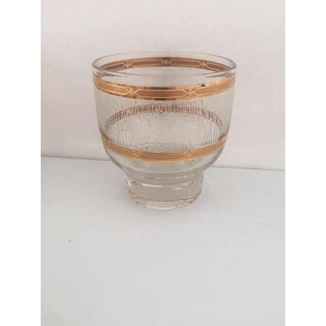 Mid-Century Modern Mid Century Gold & Clear Textured Short Cocktail Glasses - Set of 6 For Sale - Image 3 of 8